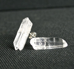 Raw quartz crystal point post earrings studs