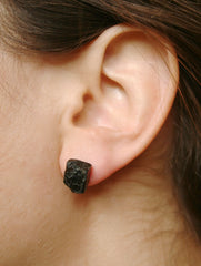 Black tourmaline rough crystal studs earrings