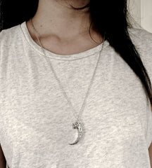 RAVEN claw talon silver plated chain necklace