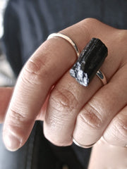 ELKE black tourmaline raw rough crystal ring silver plated