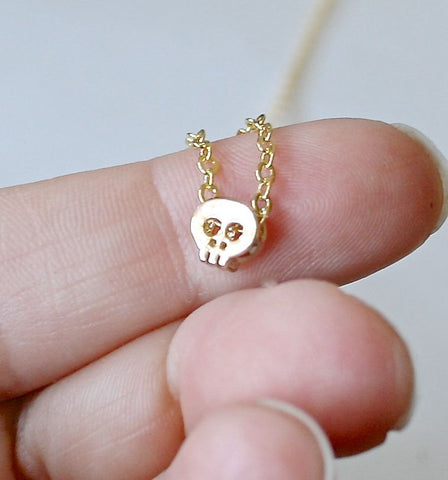 simple tiny gold skull necklace gold plated fine chain minimal
