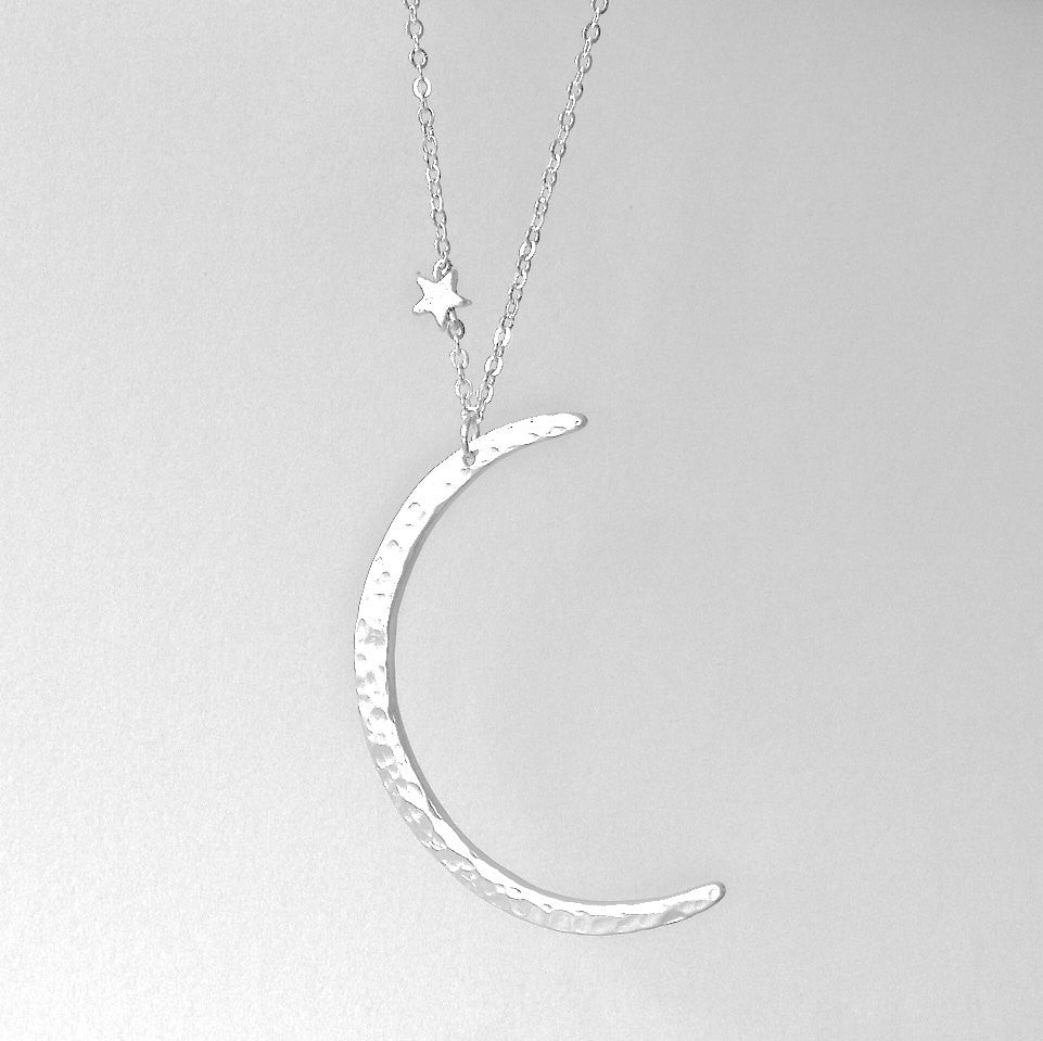 LUNA star silver plated matte crescent moon and star necklace stars