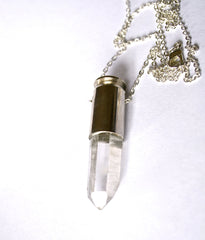 ORIEL silver clear quartz crystal bullet necklace