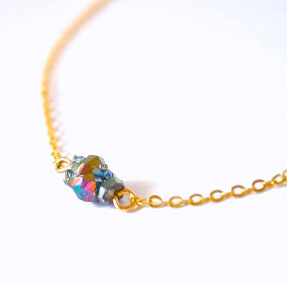 TINY Rainbow aura aurora titanium quartz fine chain crystal necklace