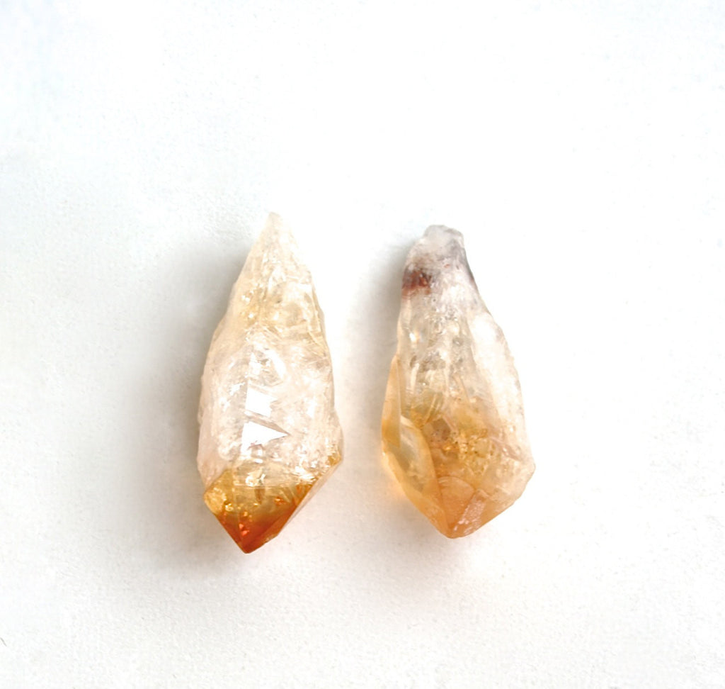 Raw citrine crystal drop earrings natural rough silver plated post studs Valentines Day