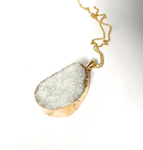 GOLD dipped ice white crystal quartz  druzy drusy necklace