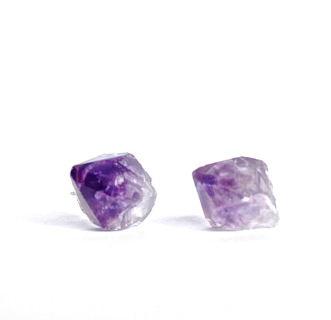amethyst crystal earrings studs