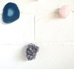 Crystal gemstone fridge magnet set pyrite amethyst quartz agate and rose quartz