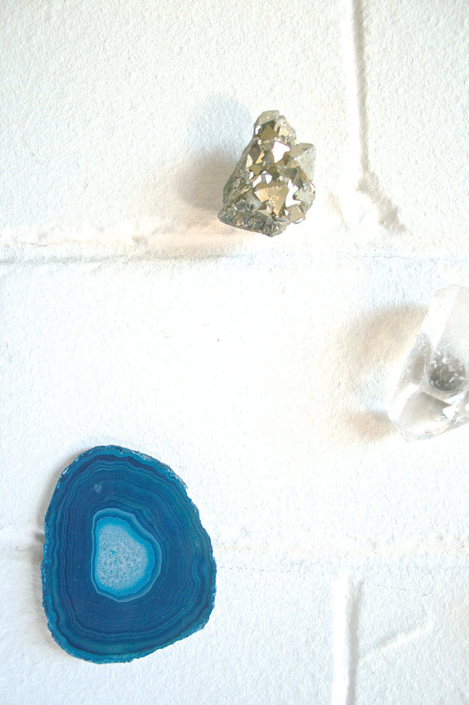 Crystal gemstone fridge magnet set pyrite amethyst quartz agate and