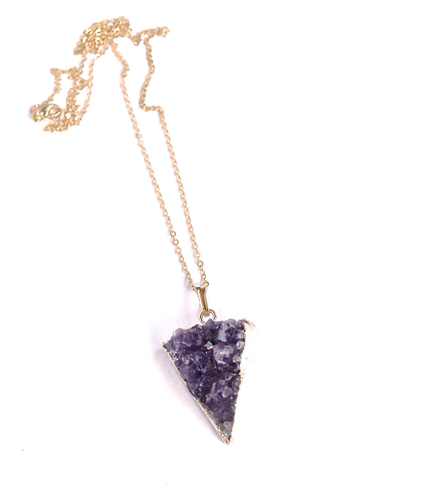 Drusy pendant // amethyst druzy// triangle pendant // layering necklace// crystal necklace // boho necklace //