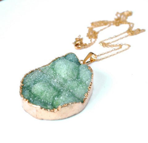 GOLD dipped jade green crystal quartz  druzy drusy necklace