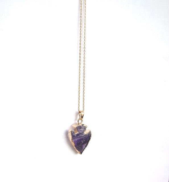 Delicate gold dipped amethyst crystal arrowhead necklace