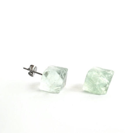 Raw green FLUORITE crystal pyramid hexagonal natural rough post earrings studs