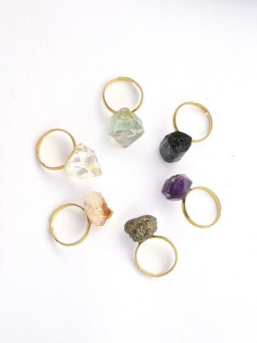 crystal ring // stacking ring // amethyst ring // citrine ring // pyrite ring // fluorite ring // chakra ring // yoga jewellery meditation