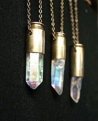 Opal Aura crystal bullet necklace dark oxidised