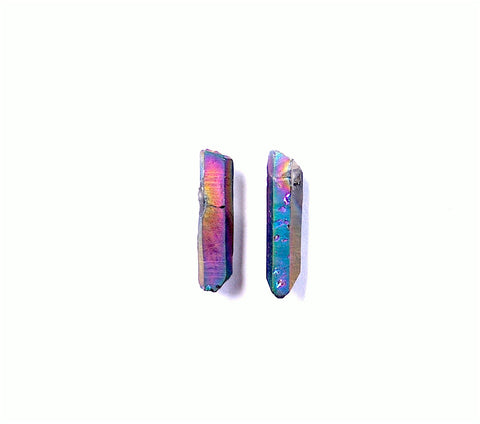 raw rainbow aura titanium quartz point earrings rough crystal