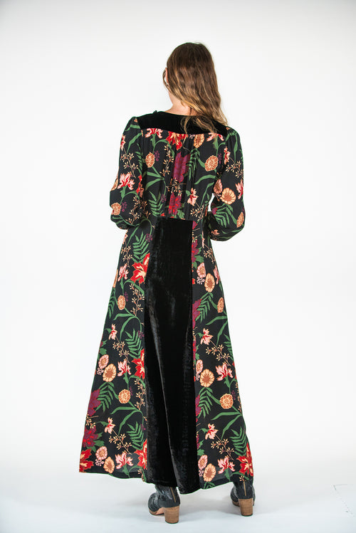 Esther Dress - Secret Garden Print / Silk Velvet