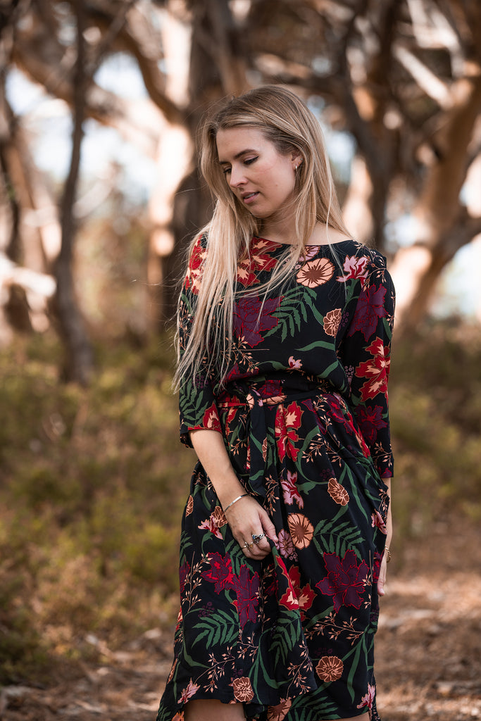 Stormy Weather Dress - Secret Garden Print