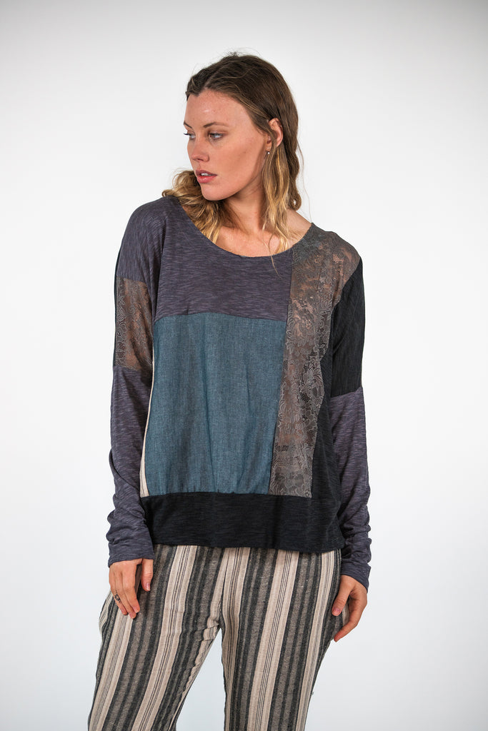 Juno Jumper - Stripe / Denim / Lace