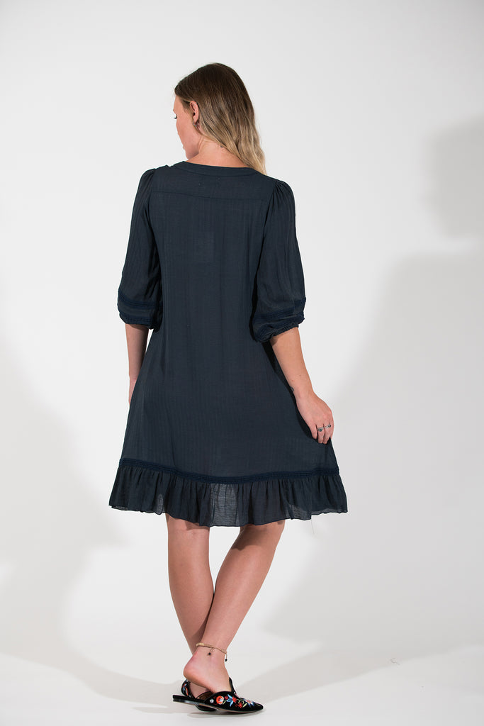 Cherry Dress - Navy