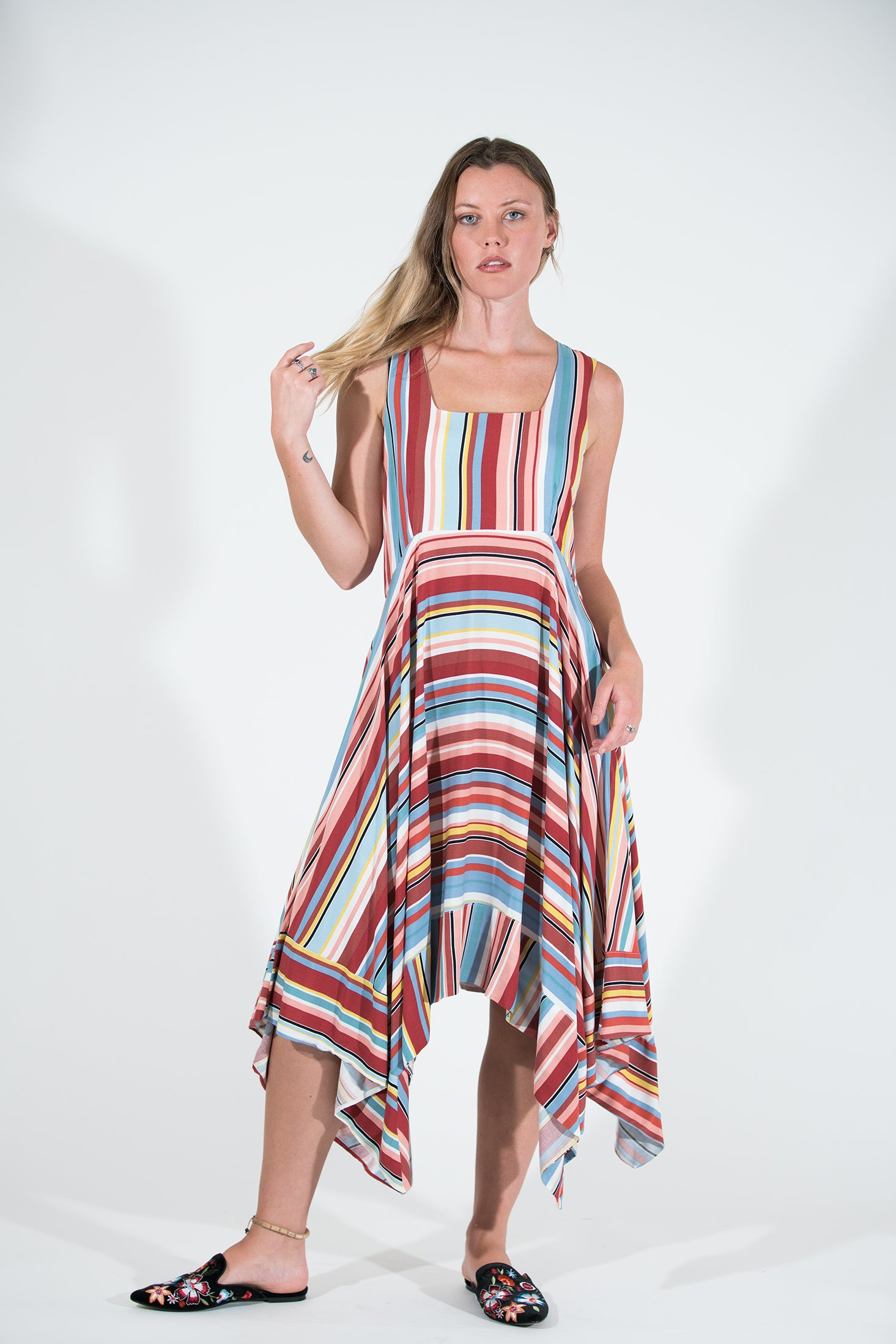 Cinnamon Dress - Spring Stripe