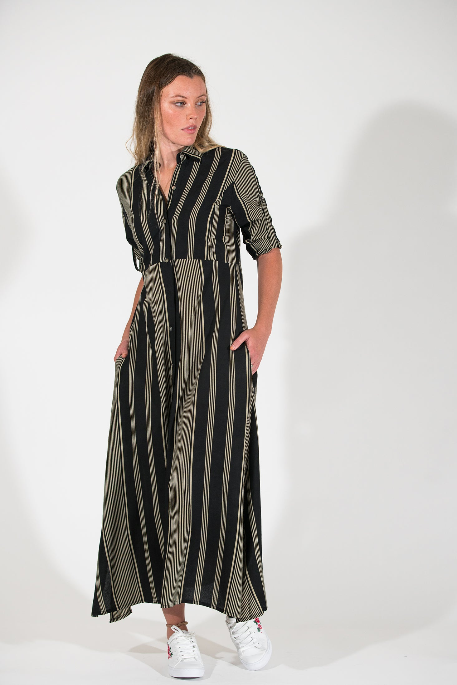 Evergreen Dress - Black/Bone Stripe