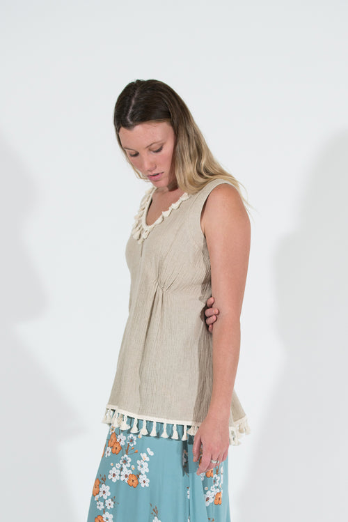Jade Top - Natural Linen