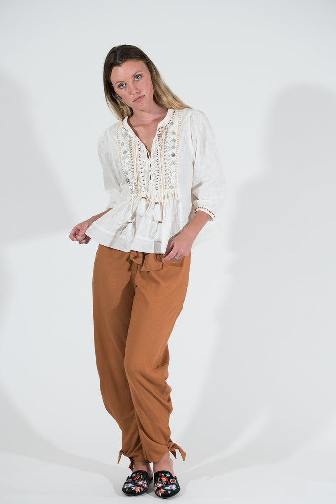 Kentia Top - Cream Embellished