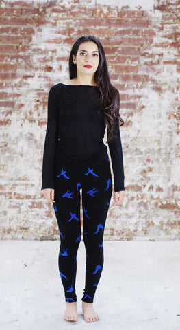 Violet Fish Fashion bamboo tights leggings birds blue