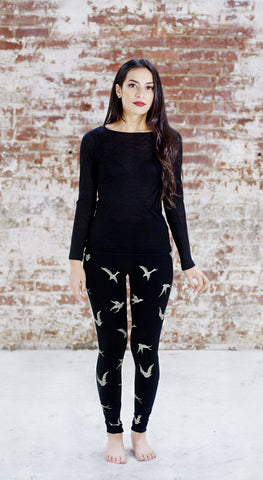 Violet Fish Fashion birds bamboo tights leggings coffee