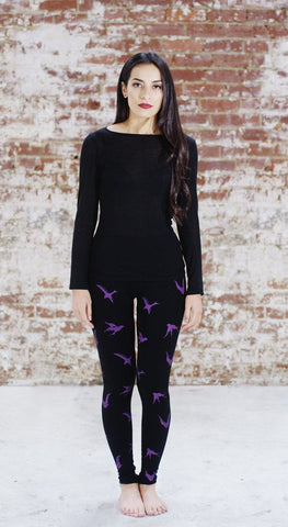 Violet Fish Fashion bamboo birds tights leggings violet