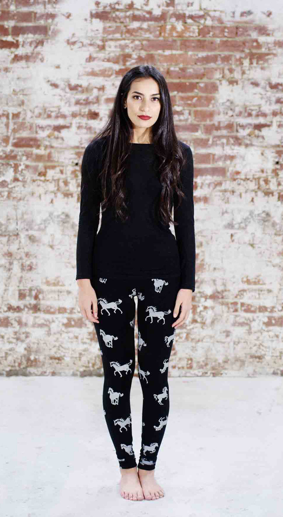 Violet Fish Fashion Horses hand-printed tights leggings coffee