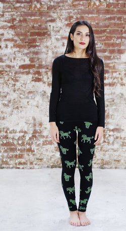 Violet Fish Fashion bamboo tights leggings horses pistachio