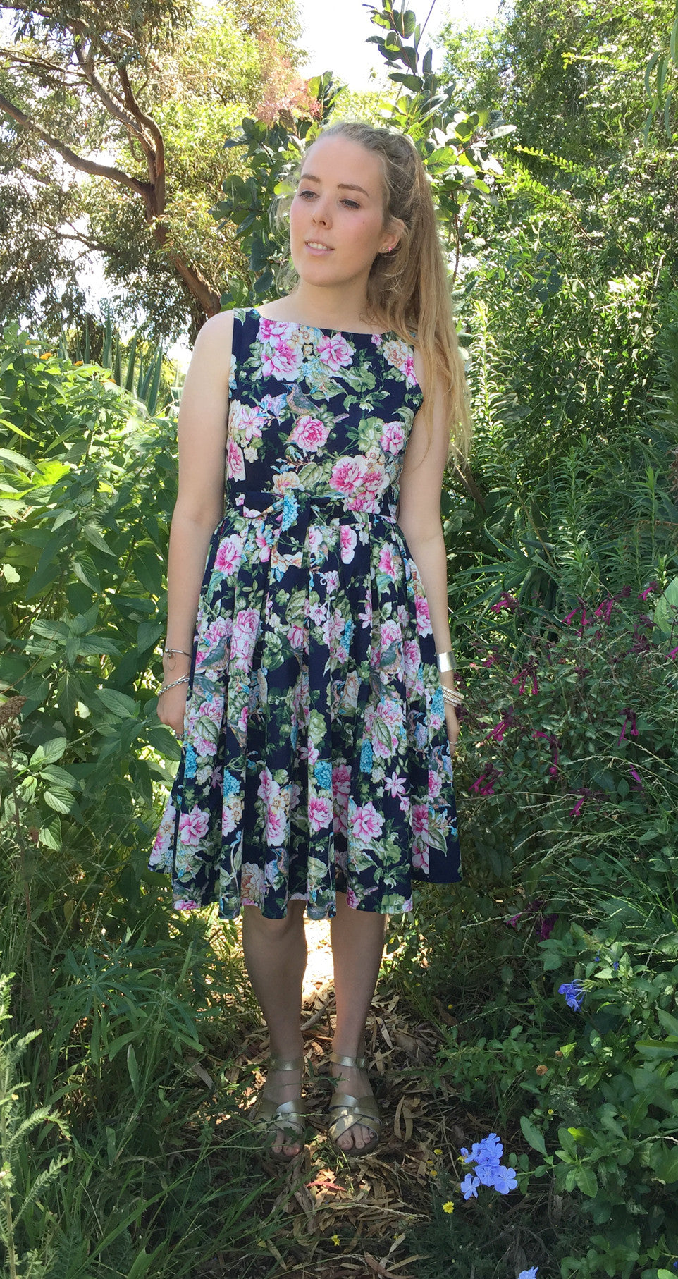 Isabella Dress - Japanese Bird - Navy - 100% COTTON