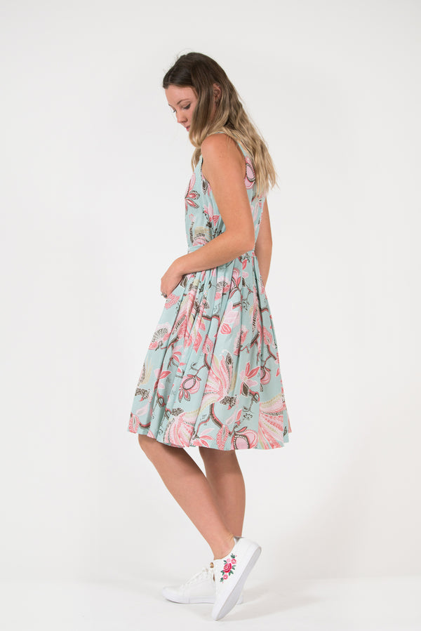 Isabella fit and flare dress aqua pink peacock print pleated skirt