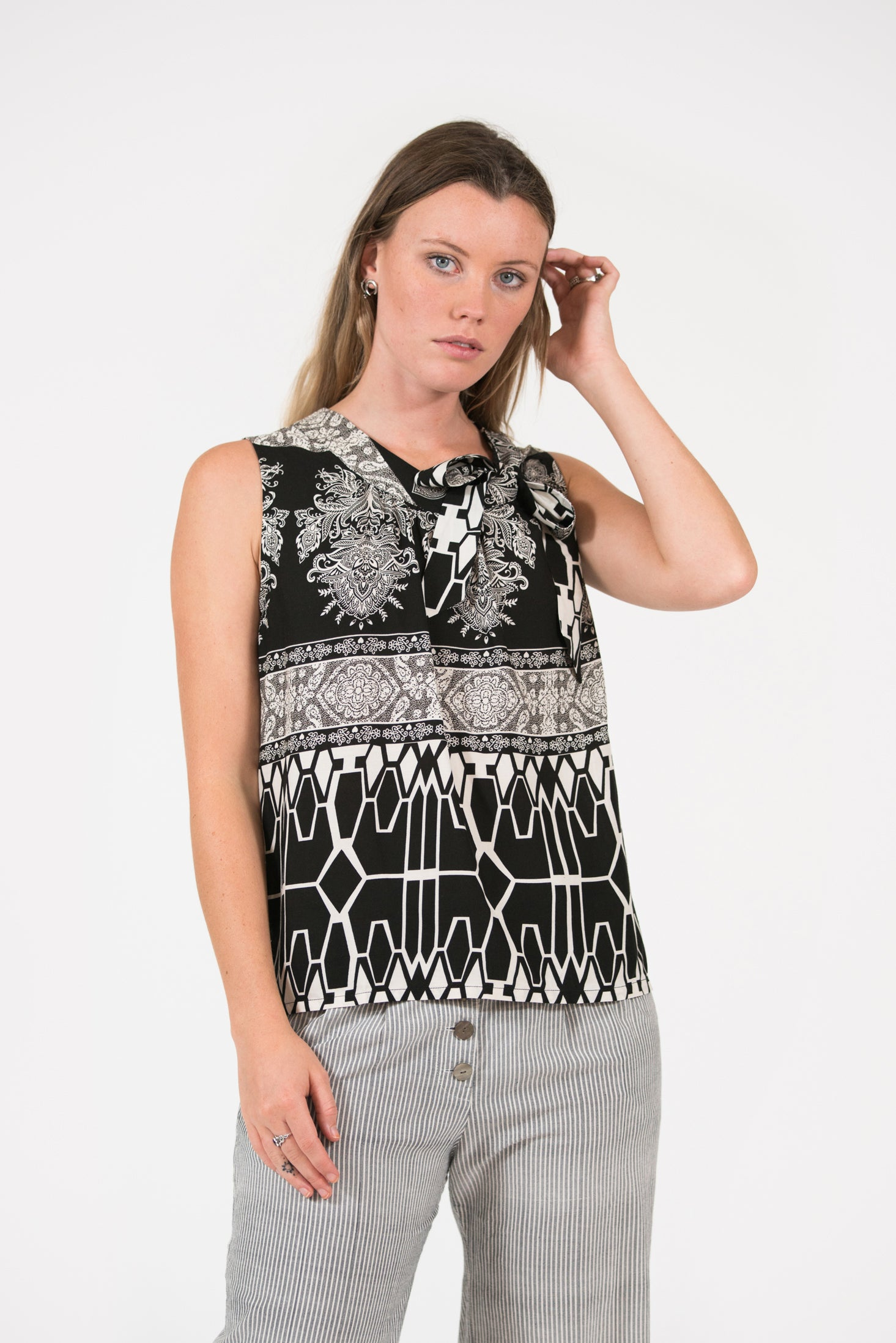 Black Geometric printed Bowline top with tie at neck