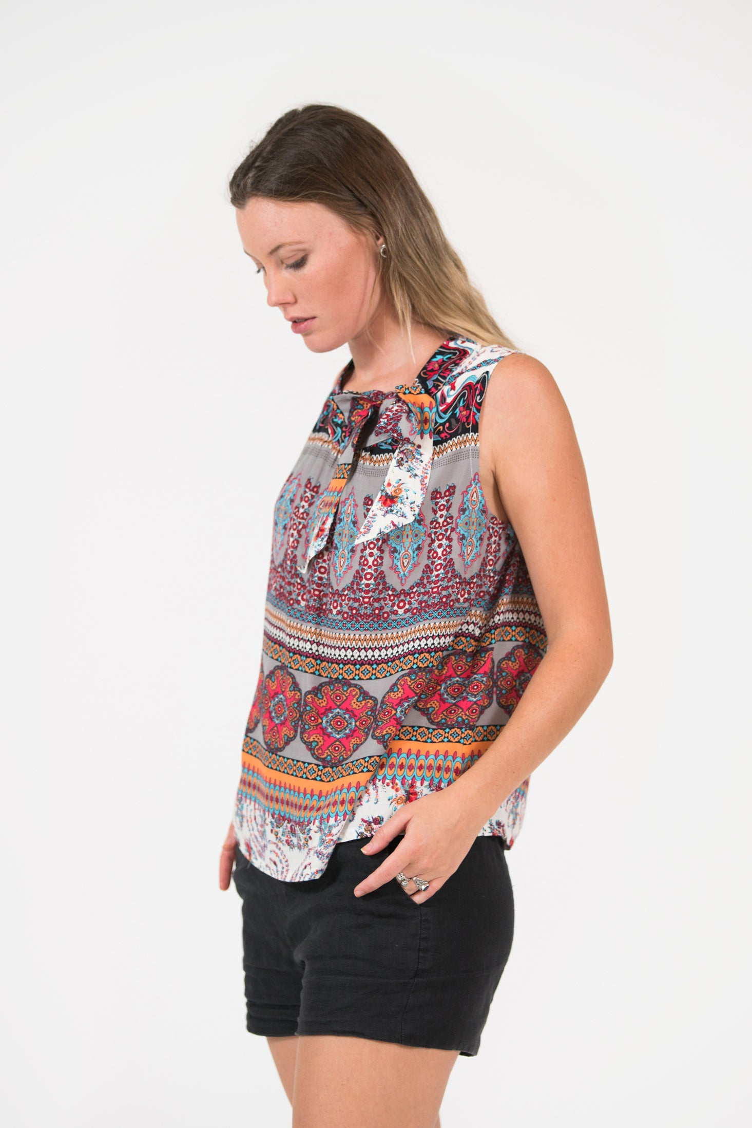 Pink/Grey printed Bowline top with tie at neck