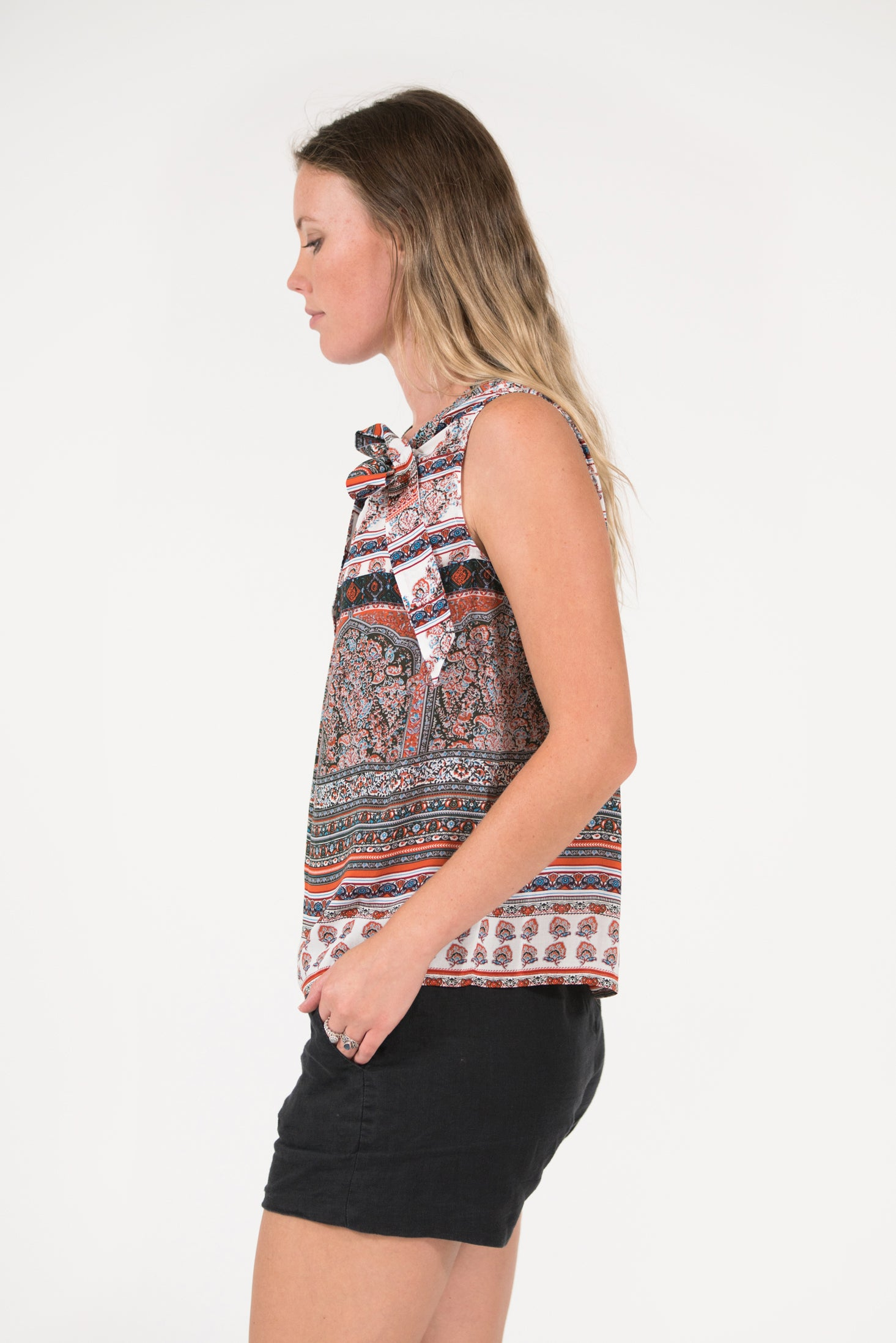 Rust stripe printed Bowline top with tie at neck