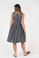 Isabella Dress Vintage classic style black diamond print fitted waist