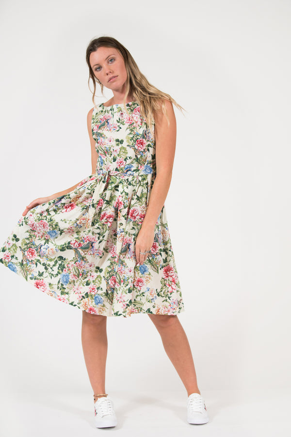 Japanese floral printed Isabella dress flattering fit and flare style