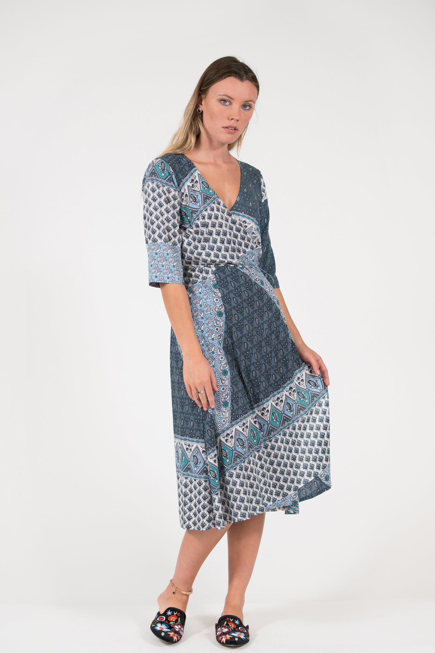 printed blue sarong wrap dress 3/4 sleeve