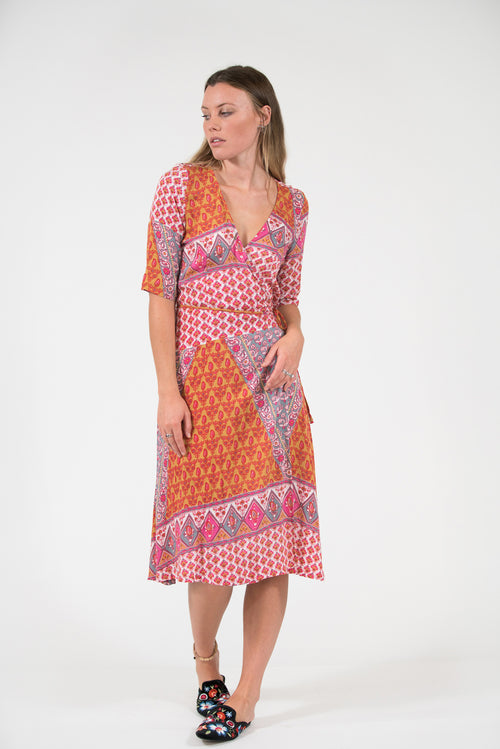 3/4 sleeve printed pink sarong wrap Harriet dress