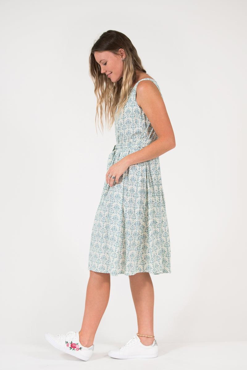 vintage frock shape pleated skirt Isabella dress printed