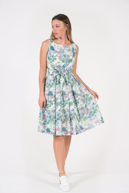 Isabella Dress Vintage classic style green paisley print fitted waist