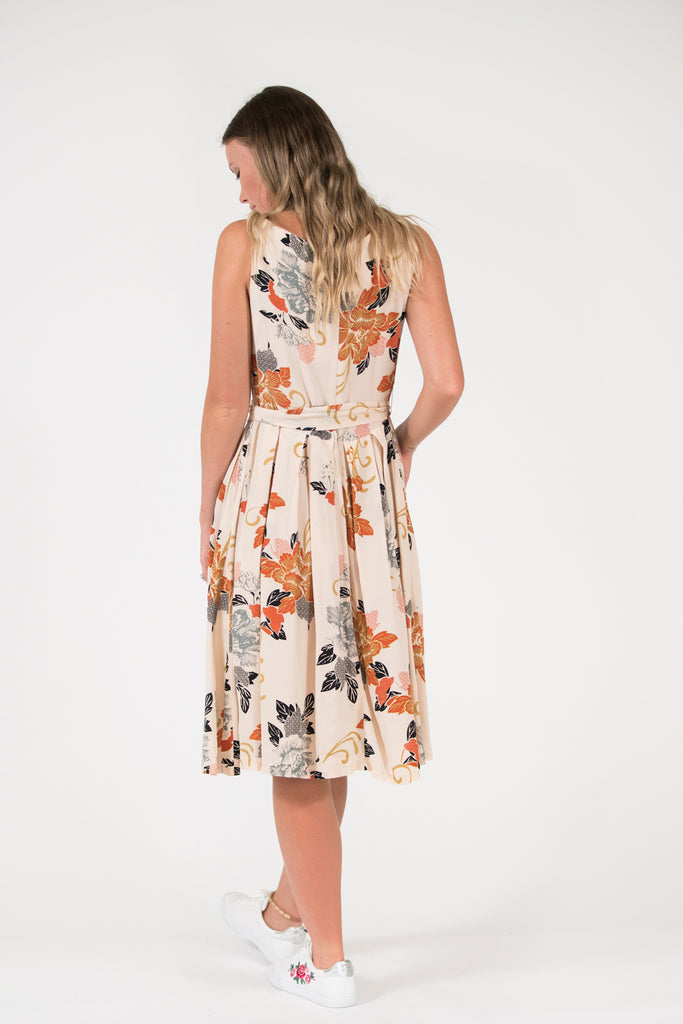 oriental floral print rust isabella fit and flare vintage Isabella dress