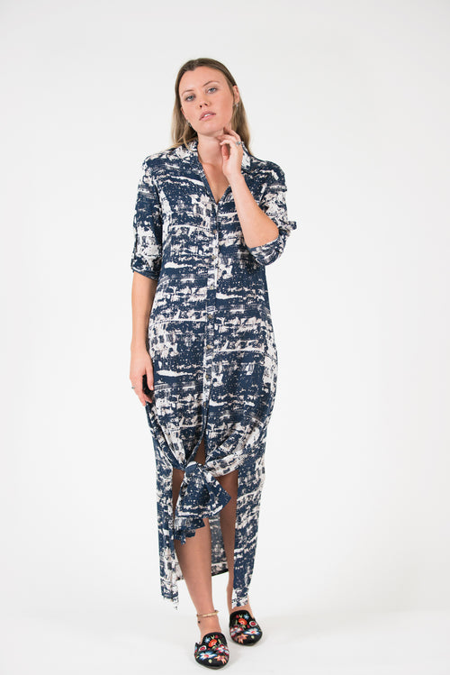 printed navy long sleeve button up George Dress