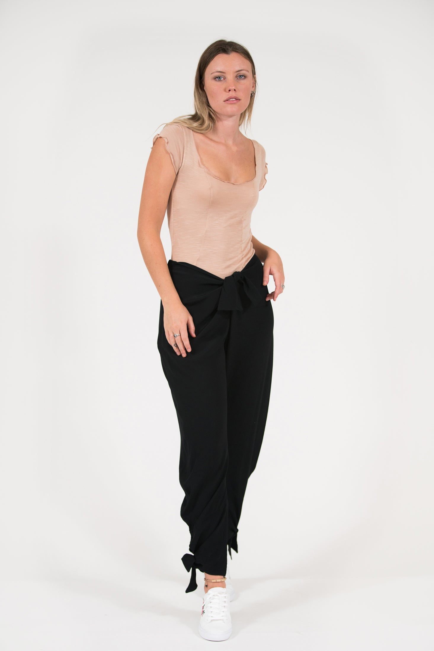 black viscose jo-jo pant with ankle ties and front waist tie