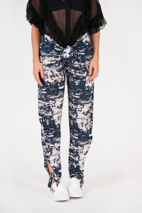 blue abstract printed viscose jo-jo pant with ankle ties and front waist tie