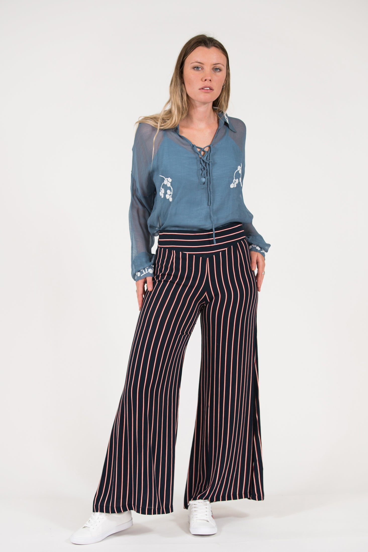 wide leg navy rust stripe McClelland Pant