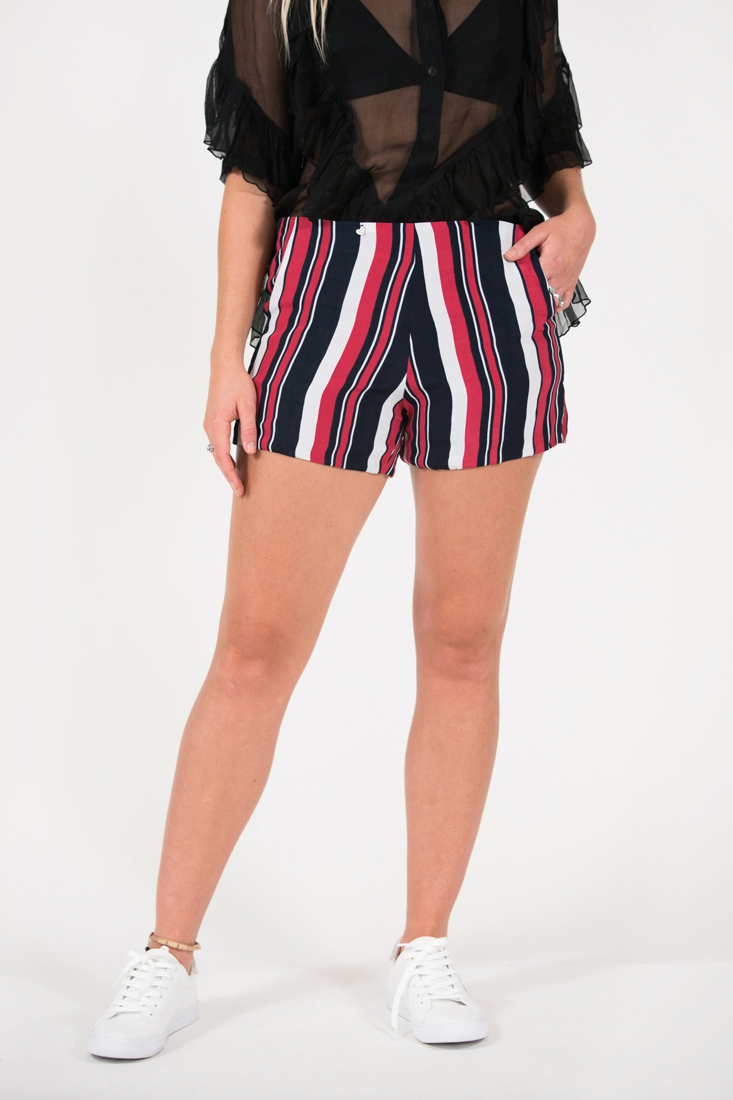 rust and navy stripe fitted Penny short